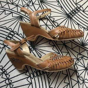 Vintage Woven Leather Wedge Sandals